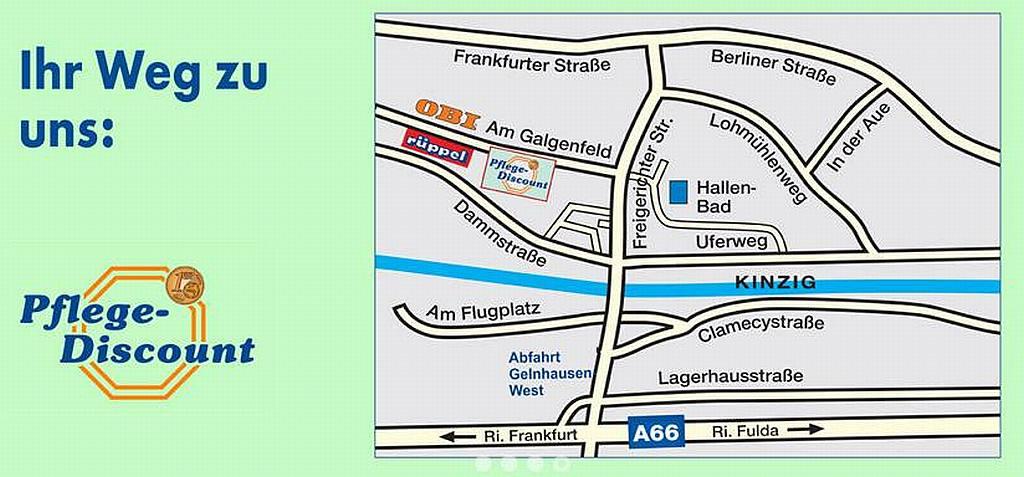 Wegbeschreibung oder Routenplaner Pflege-Discount Gelnhausen